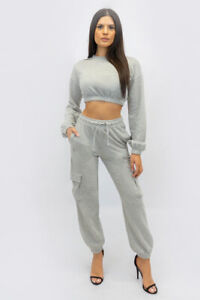 New UK Womens Cargo 2 Pc Loungewear Outerwear Tracksuit Crop Top and Jogger Set