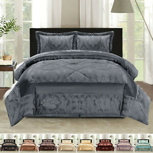 3 Piece Quilted Bedspread Throw Comforter Set W 2 Pillow Shams Double King Size