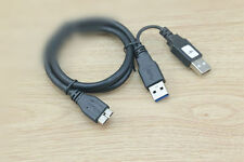 2FT Dual USB 3.0 A Male to Micro B Y Black Power Data Cable Mobile Hard Disk