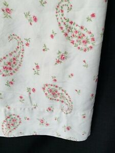 Laura Ashley Flannel Flat Top Sheet Queen Garden Roses Paisley Cottage Chic