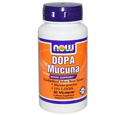 NOW FOODS - DOPA MUCUNA - 90 x 400mg VEG CAPS - VELVET BEAN EXTRACT