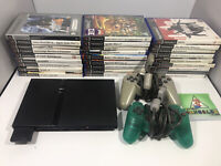Sony PS2 Slim Console Bundle Controllers & Games Black Playstation 2