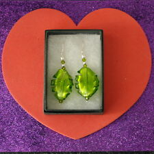 Cm. Long + Silver Hooks In Box Beautiful Green Color Murano Glass Earrings 5