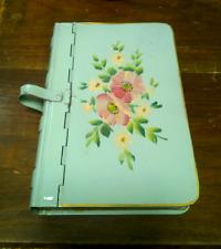 Vintage Hinged Book Shaped Tin Box Safe Shelf Storage Green  Floral Antique