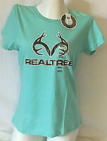 Brand New!!! Women & Girls Realtree Bright Turquoise Camo Crew Neck Shirt M L XL