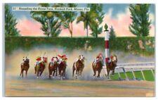 Mid-1900s Rounding the Home Turn, Hialeah Park, Miami, Fl Postcard