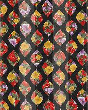 "Flowers Pattern Black Background Print Satin Stripe 13"" x 60 Long Fashion Scarf"