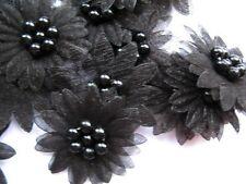10 X Negro de organza con cuentas Adornos De Diadema Apliques De Flores De Margarita
