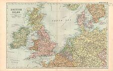 1911 VICTORIAN MAP ~ BRITISH ISLES ~ WALES SCOTLAND ENGLAND IRELAND