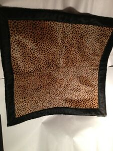 nwot DESIGNER SAMPLE hand painted COW HIDE/pony FUR accent rug SPOTTED CAT
