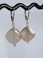 Agate and Crystal . 925 Silver Earrings