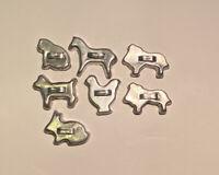 "Lot of 7 Vintage Miniature Aluminum Cookie Cutters Animals 1.5"" Mini Dog Cat Hen"