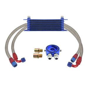 7-Row 10AN Universal Engine Oil Cooler Kit + Aluminum Hose End High Quality Blue