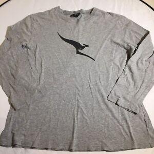 Peter Morrisey For Qantas LS Grey Tee Retro L/XL Kangaroo Logo Nice Soft Cotton