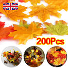 200pcs Autumn Maple Leaf Fall Fake Silk Leaves Craft Wedding Party Xmas Decor G