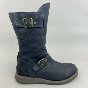 Moshulu Nightjar Mid Calf Navy Blue Leather Zip Biker Wedge Boots 40 UK6.5 - 7