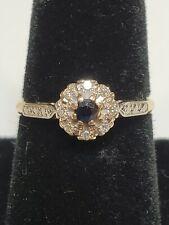 14K two tone yellow white gold Antique European Blue Sapphire and Diamond Ring