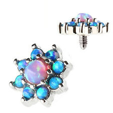 New Surgical Steel Blue Pink Opal Cluster Flower Dermal Anchor Top Head