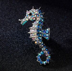 Vintage Style Crystal Seahorse Sea Animal Brooch Blue Silver Marine Fish Pin UK