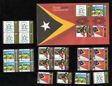 2002 TIMOR-LESTE INDEPENDENCE FDC + 4 STAMP BLOCKS + 4 SINGLES - MINT & PERFECT