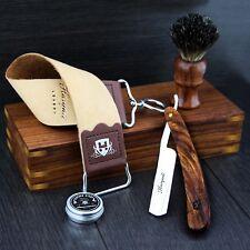 Vintage Barbero Salón Corte Recto Garganta Afeitar Razor Gift Set 5 PC Kit De Lujo