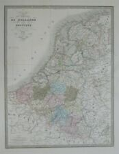 Original 1846 Jean Andriveau-Goujon Map HOLLAND BELGIUM Luxembourg Hand Colored
