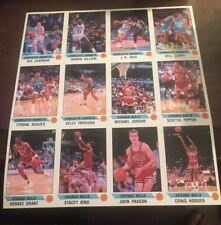 1990 Panini Sticker Michael Jordan, Pippen Chicago Bulls Team 16 Panel PSA Sheet