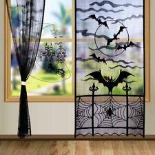 Black Lace Door Window Curtain Panel Drape Black Bats Halloween Party Decor