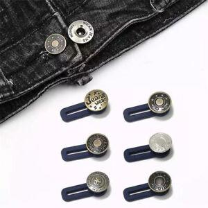 5Pcs Metal Trousers Jeans Retractable Button Buckle Pants Waist Band Extended