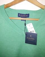 NEW Brooks Brothers Supima Cotton V-Neck Knit Sweater Men's Medium GREEN