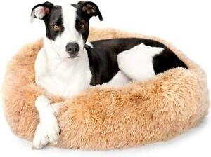 2-in-1 Memory Foam Donut Cuddler Dog Bed | Orthopedic Joint Relief Medium Sand