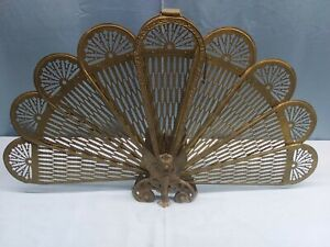 Vintage Brass Cameo Folding Peacock Style ART DECO Fireplace Screen.