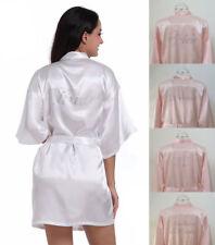 White/Pink Personalized Wedding Robe Bridesmaid Bride Dressing Gown Satin Silk