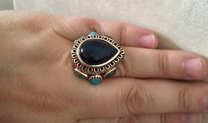 Size 8 Barse Ring Blue Agate, Green Onyx, & Turquoise with Bronze