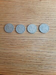 4 1950's sixpence peices,1953, 1954, 1955 and 1959