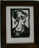 Rohlfs Portrait Holzschnitt datiert 1912 signiert