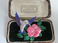 VINTAGE COLOURFUL SIGNED JJ FLYING HUMMING BIRD BROOCH SHAWL PIN