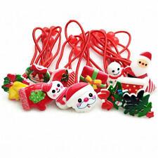 10Pcs Merry Christmas Hair Elastic Bands Red Bow Animals Headband Rope Girls
