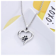 Silver Pet Lover Pendant Necklace Puppy Dog Cat Paw Print Heart Charm Chain