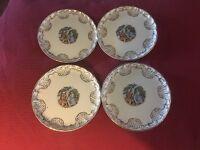 "4 W. S. George Bolero Royal China Fraganard 7""  Plates  22 Kt Gold Trim"