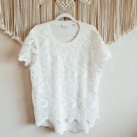 TED BAKER size XL Crochet Lace Overlay Short Sleeve Blouse White