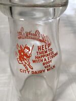 Vintage Half Pint Milk Bottle City Dairy Shawano Wisconsin