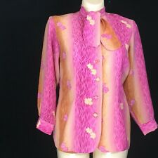 Vtg Large Med Blouse Bow Tie Neck Pink Purple Gold Ombre Floral Unique Adonay