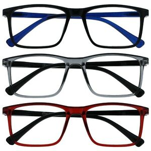 Opulize Ink Reading Glasses Large Rectangular Mens Womens Spring Hinges R4