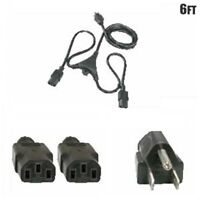 3x 1.5FT US Plug 5-15P to 2 C13 Power Y Splitter Adapter Cable Cord PC Monitor