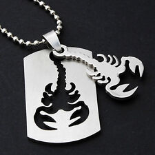 Stainless Steel Scorpion Necklace Pendant 60cm Bead Chain