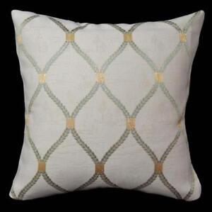 HC513a LtGold Lake Green Beige Checker Jacquard Cotton Cushion Cover/Pillow Case