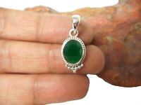 Oval  Green EMERALD  Sterling  Silver  925  Gemstone  PENDANT