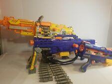 NERF Vulcan EBF-25 Machine Gun w/ AmmoBelt&Tripod + NERF Longshot CS-6 + Handgun