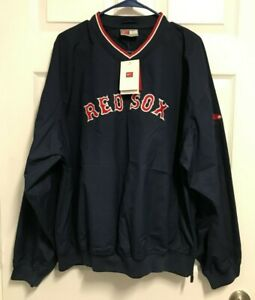 BOSTON RED SOX Men Staff Ace Navy Pullover Warm Up Bullpen Jacket L Nike NEW TAG